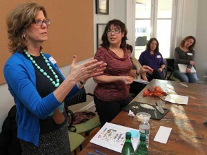Maureen Fitzgerald of My Daughter's Kitchen meeting with volunteers at the Vetri Foundation. PHOTO: Michael Bryant